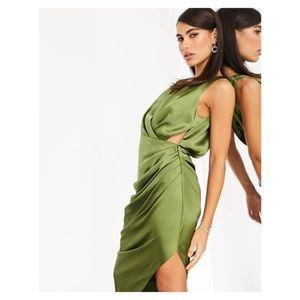 NWT Asos plunge neck satin midi dress Sz 6